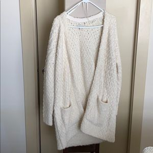 Lucky white teddy thigh length sweater